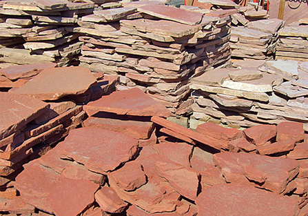 stacks of flagstone in flagstone yard