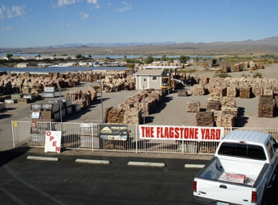 aerial view of the flagstone yard
